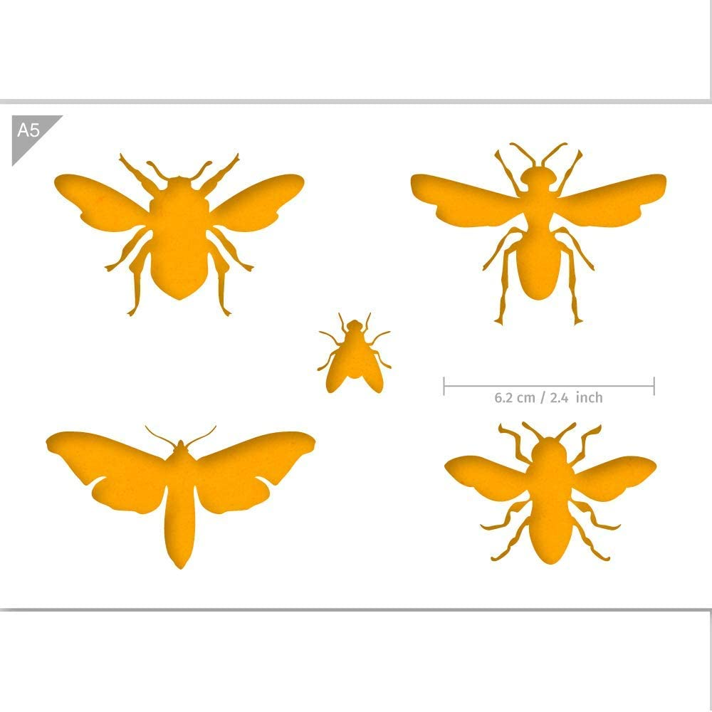 Qbix Bugs Stencil - A5 Size - Reusable Kids Friendly DIY Stencil for Painting, Baking, Crafts, Wall, Furniture