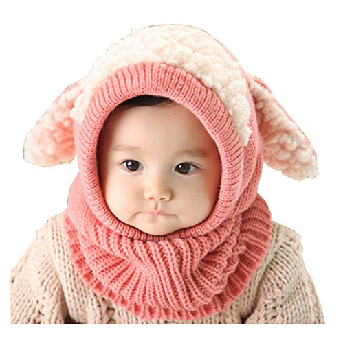 Unique Winter Baby Hat/Cap Useful Warm Cute Woolen Baby Hat with Scarf Pink