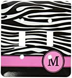 3dRose LLC lsp_154284_2 Letter M Monogrammed Black and White Zebra Stripes Animal Print with Hot Pink Personalized Initial Double Toggle Switch