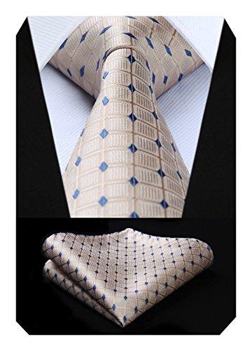 (HISDERN Men's Check Dot Tie Handkerchief Wedding Party Necktie & Pocket Square Set Wheat)