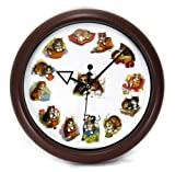 Playful Cats Kitty Kittens Round Wall Clock with Meow Sounds on the Hour - 10""