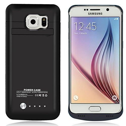 Galaxy S6 Battery Case , AexPower 4200mAh Portable Charger Case Rechargeable Extended Battery Charging Case for Samsung Galaxy S6 -Black