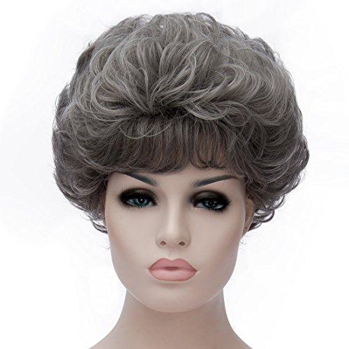 Hot Sale Fashion Elegant Capless Rose Hairnet Shaggy Natural Human Hair Wig For Women Lady Girl Medium Short Curly Wavy Wig(Grey Ramp Straight Bang3)