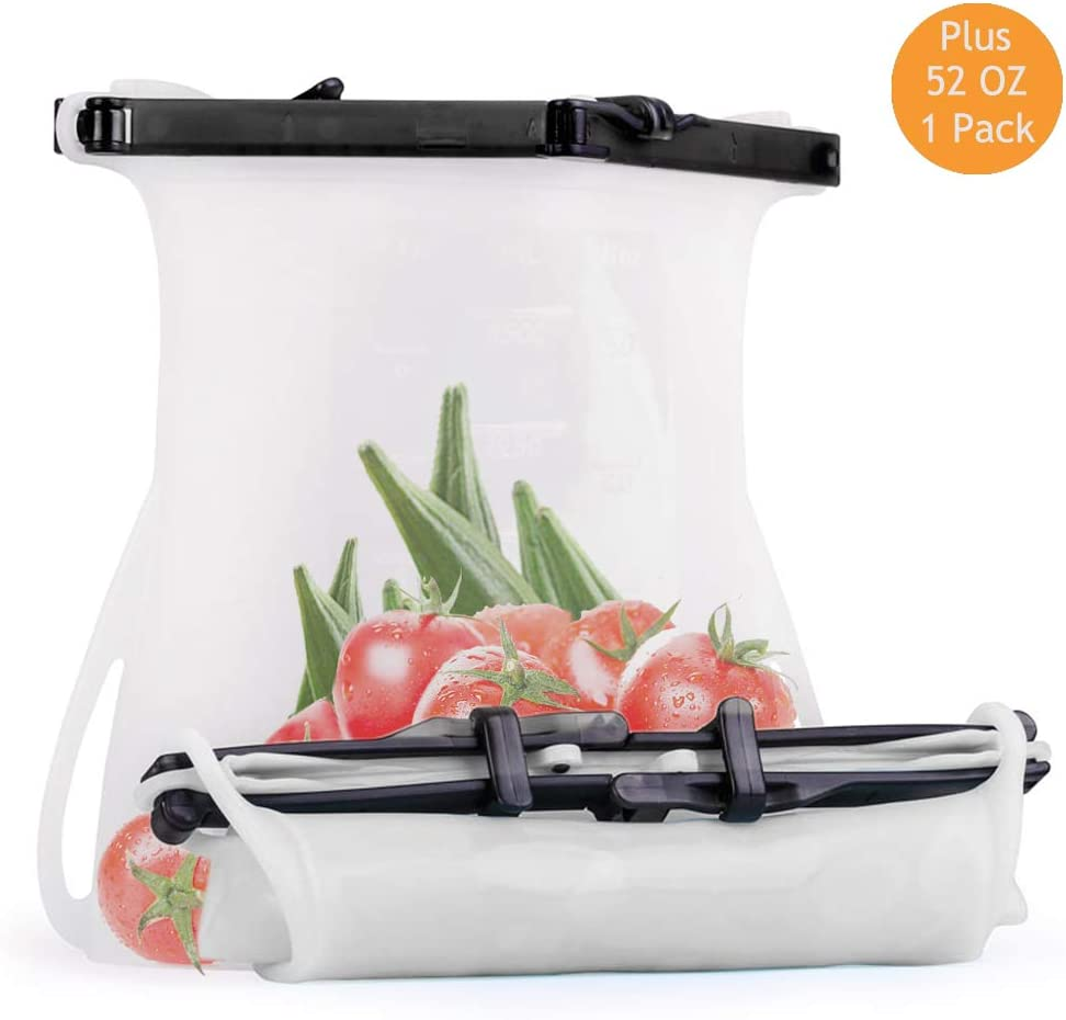 Reusable Silicone Food Storage Bag,Sealed and Easy to Clean and Store,Safely use in the Fridge,Dishwashers and Microwave Ovens.Great as Snack,Sandwich,Cooking and Soups Storage.  1Pack 52oz (White)