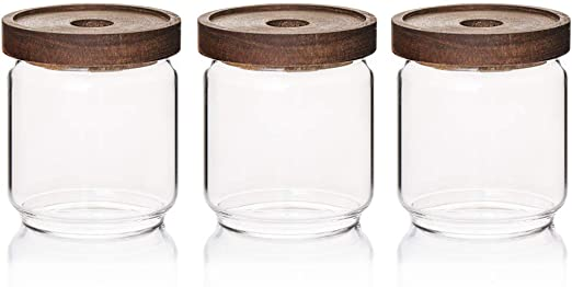 Sweejar 16 OZ Glass Food Storage Jar with Lid(set of 3),Airtight Canisters for Bathroom,Kitchen Container with Bamboo Cover for Serving Tea, Coffee, Spice and More