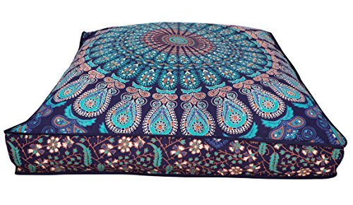 Indian Hippie Bohemian tapestry seating pouf dog bed cat bed boho decor handmade pouf ottoman, boho floor pillow, mandala cotton cushion cover, decorative throw pet beds Children Bedding (Cover Only)
