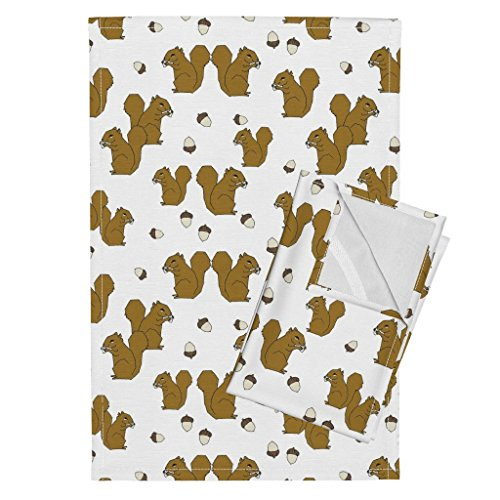 Roostery Squirrel Acorn Autumn Animal Squirrels Tea Towels Squirrel Fabric Squirrels by Andrea Lauren Set of 2 Linen Cotton Tea Towels by Roostery