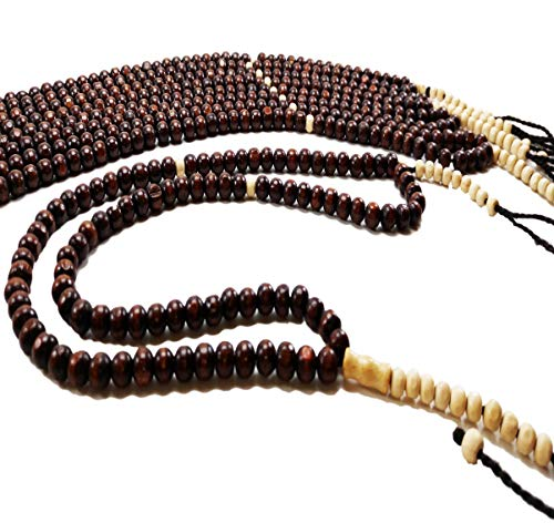 Lot of 10 Wooden Tasbih Sibha Worship Prayer 99 Brown Worry Beads Misbaha Muslim Arabic Islamic Gift Tasbeeh Islam for Zikr Meditation Or Decor with Counter in Each -