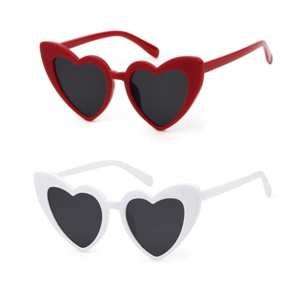 Love Heart Shaped Sunglasses Women Vintage Christmas Giftv For Girls (black&white, black5) by ADEWU (Image #1)