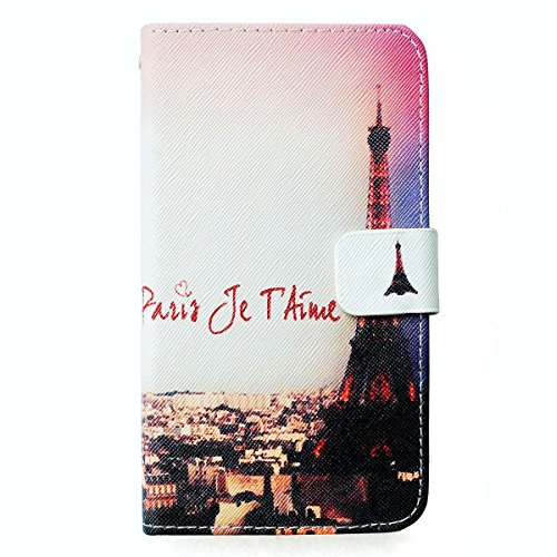 BLU Dash C Music Case , New AbloomBOX Dash C Music Eiffel Tower I Love Paris / Paris Je t'aime Pattern PU Leather Wallet Protective Case Cover with Stand and ID Card Holder for BLU Dash C Music