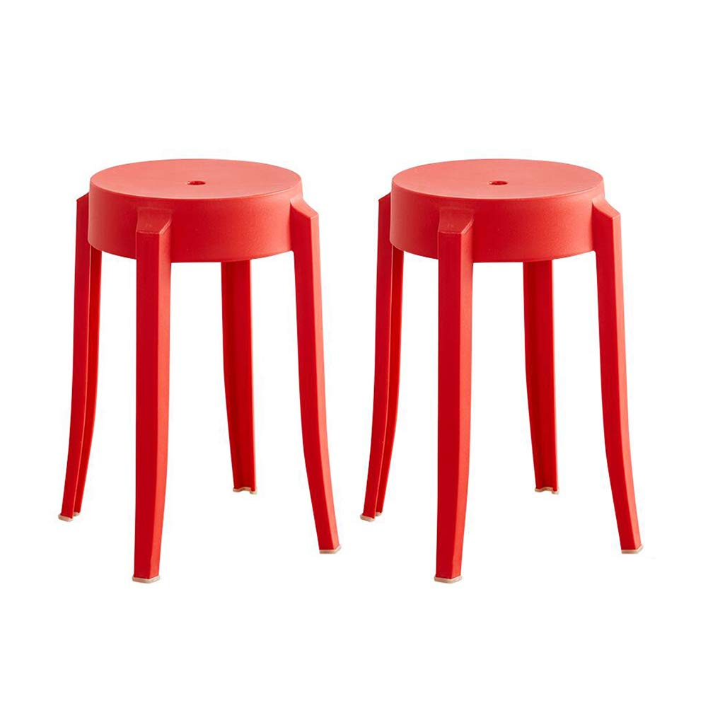 RED Dall Home Stool Seating Multi Purpose Stools Plastic Dining Stools Stack 2 Pcs (color   RED)