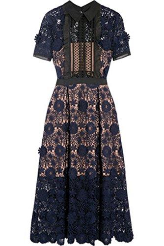 Thankstop dress 2018 New Women Self Portrait Lila Floral Lace Runway Dress,Blue,L