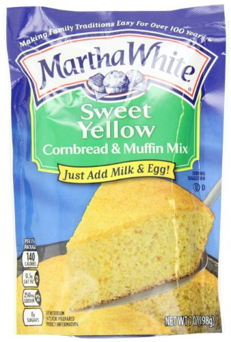Martha White Sweet Yellow Cornbread and Muffin Mix, 7-Ounce Packages (Pack of 12)