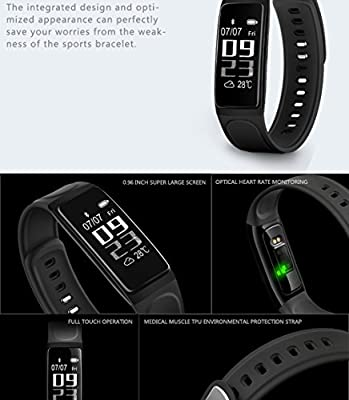 """Fitness Tracker With Heart Rate Monitor, Sleep Monitor Calorie Counter Sport Activity Tracker Heart Rate Bracelet, IP67 Waterproof, 0.96"""" OLED Touch Screen for Android and IOS?Black"""