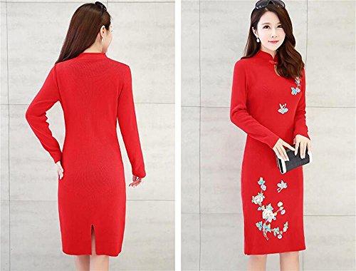 vestito autunno Maglioni maglione cheongsam Women cinese e M NERO Maglione abito Red lunghe da inverno Knitwear Colore maniche donna dimensioni 4xExwq7X