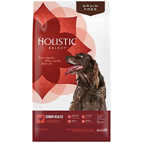 Holistic Select Natural Grain Free Dry Dog Food, Senior Chicken Meal & Rice Recipe, 24-Pound Bag ()