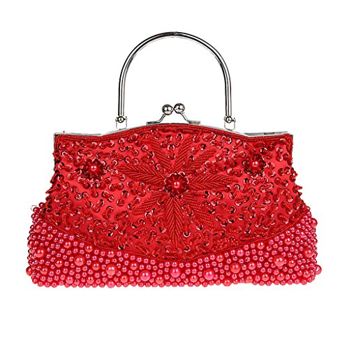 Prom Purse Sequined Red Baoblaze Wedding Party Clutch Bag Bride Beads Evening Bling Decor YnU8g