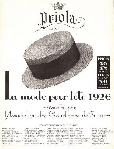 1926 Ad Print Priola Men's Summer Straw Hats Fashion Mode