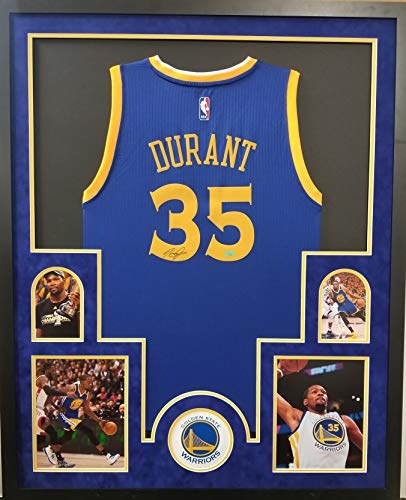 Kevin Durant Golden State Warriors Autograph Signed Custom Framed Jersey Suede Mat Panini Authentic Certified