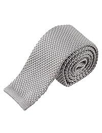 TOPTIE Men's Knit Solid Skinny Tie Polyester Square End 2 Inch Necktie Tie-Silver