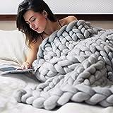 "AoSiFu Chunky Knitted Blanket Handmade Merino Wool Arm Knitting Throw for Home Decor Giant Bed Sofa Throw Gray 40""x47"""