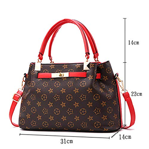 de 2018 ×22CM de de para moda mujer Style 1 con poliuretano de bolso Style Talla mano estampado mano red 31 Bolso red ×14 1 qRvIfwcw