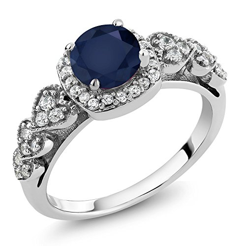 Sterling Silver Round Blue Sapphire Gemstone Birthstone Ring (1.32 Cttw, Available in size 5, 6, 7, 8, 9) Natural Sapphire Ring