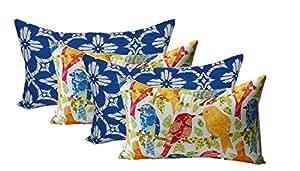 Set de 4interior decorativa lumbar/rectangular almohadas–2Richloom aspidoras cobalto–Royal azul/blanco & de madera de geométrico 2blanco Ash Hill jardín pájaros–rojo, azul, verde, amarillo