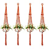 Accmor 4 Pack Macrame Plant Hanger, 4 Legs 39 Inch Pure Handmade Cotton Rope Indoor Outdoor Balcony Patio Deck Ceiling Planter Basket Holder for Round & Square Pots(Orange)