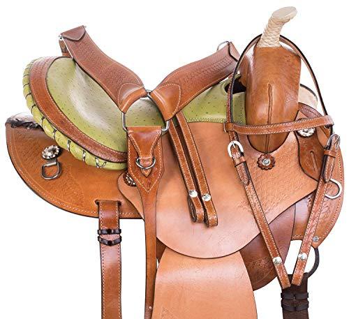 (ME Enterprises Round Skirt Light Weight Western Barrel Racing Horse Saddles Premium Leather Pleasure Trail + Headstall, Breast Collar, Reins Size 14