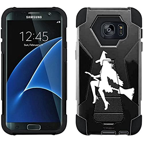 Samsung Galaxy S7 Edge Hybrid Case Silhouette Sexy Witch On Broom on Black 2 Piece Style Silicone Case Cover with Stand for Samsung Galaxy S7 Edge Sales