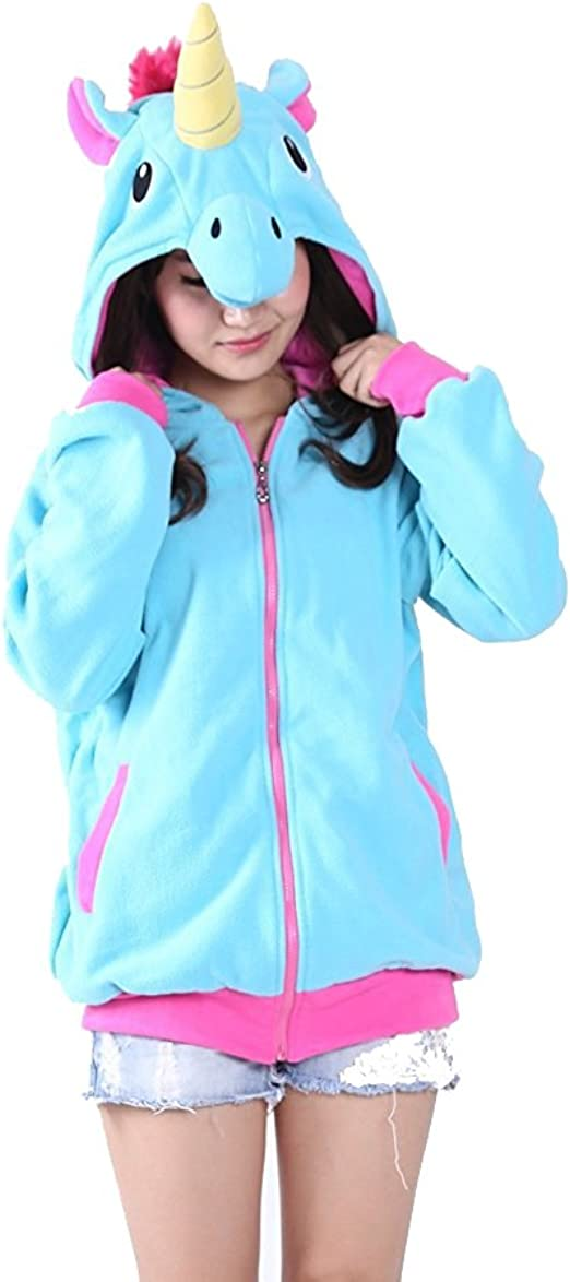 Pink, 7T// 7-8Y //Height: 53 Long Sleeve Zip Up Hoodie Jacket Sweatshirt with Pockets Eichzhushp Unicorn Clothes for Girls