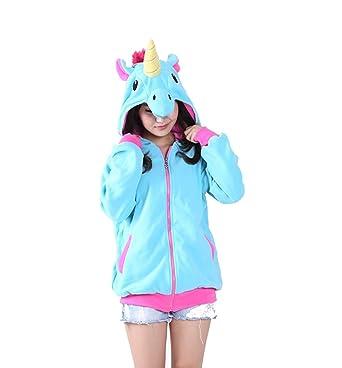 "14ad6a4a9 Ibeauti Adults Teens Cartoon Unicorn Hoodies Sweatshirts Jacket with  Zippers (S fit Height:57"""