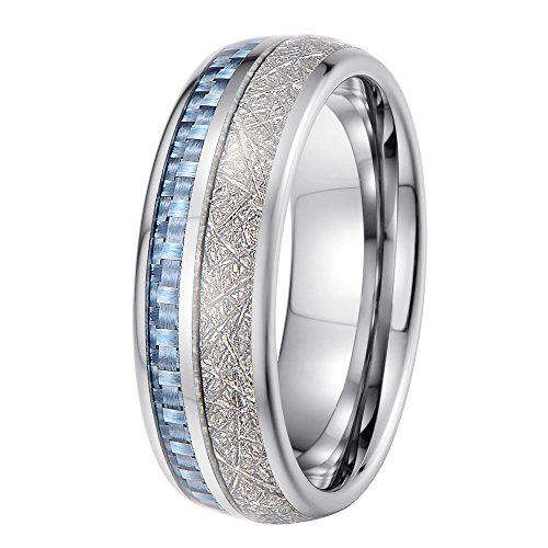 Tiitc Rings For Men And Women Tungsten Carbide Meteorite With Blue