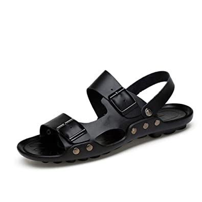 996649c79 Qiucdzi Womens and Mens Sandals Casual Open Toe Leather Walking Shoes  Comfort Adjustable Summer Beach Slippers