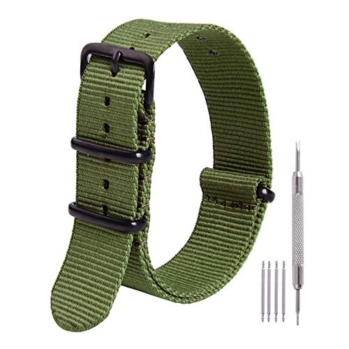 Ritche 20mm Nato Strap Army Green Premium Nylon Watch Band Replacement Timex Weekender Expedition Casio Seiko Citizen Daniel Wellington Straps for Men - Green Hours Wellington