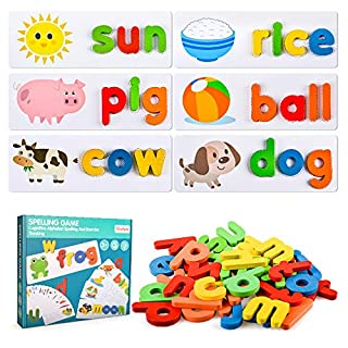 Toddlers Preschool Learning Toys for Girls Boys Age 2 3 4, Kid Alphabet Spell Educational Game Toy for 1-4 Year Old Girl Boy Baby Birthday Gift Kindergarten Sight Word Letter Puzzle Toys for Girl Boy