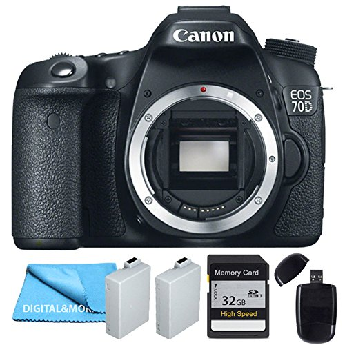 Canon 70D Body + Two Extra Batteries Package, 32GB SDHC Class 10 Memory Card, USB Card Reader by Digital&More