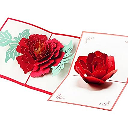 HUNGER Handmade 3D Pop Up Rose And Peony Flower Birthday Cards Creative Greeting Papercraft