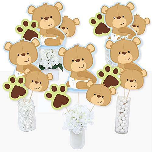 Baby Boy Teddy Bear - Baby Shower Centerpiece Sticks - Table Toppers - Set of 15