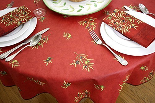 Christmas 60 x 130 inch Rectangle or Oval Stain Resistant Coated Tablecloth Olives all over in Red - Please Choose the Shape - Easy Care Cotton Acrylic French Provencal Fabric. by Maison Provence