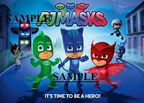 PJ Mask Owlette, Catboy, Gecko, Luna Girl & Romeo Image 1/4 Frosting Sheet Edible Cake Picture Topper by Kopycake