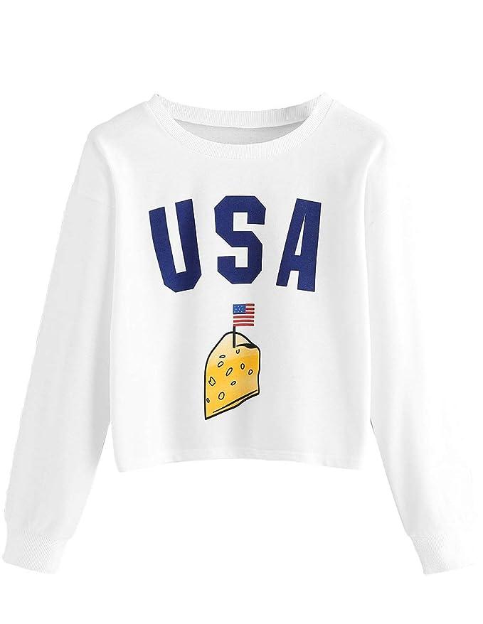Bauchfreier Pulli M/ädchen Damen Pullover Regenbogen Streifen Patchwork Langarm Sweatshirt Kurz Crop Tops Oberteile Sweatjacke Shirts Hemd Bluse