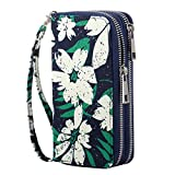 HAWEE Cellphone Wallet Dual Zipper Wristlet Purse with Credit Card Case/Coin Pouch/Smart Phone Pocket Soft Leather for Women or Lady, Green + White Floral