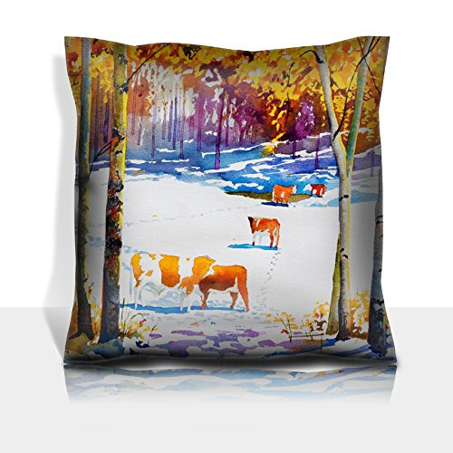 - Liili Throw Pillowcase Polyester Satin Comfortable Decorative Soft Pillow Covers Protector sofa 16x16, 1pack An original watercolor painting of a cattle pasture with an early blanket of snow