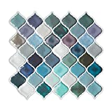 #2: HUE DECORATION Turquoise Multi Peel and Stick Arabesque Tile Backsplash, 10