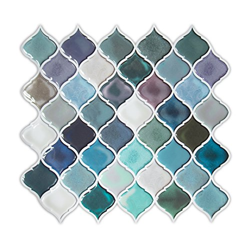 Backsplash Accessory - Turquoise Peel and Stick Tile Backsplash for Kitchen, Decorative Vinyl Backsplash Peel and Stick for Rental House, Stick on Backsplash Tiles for RV Kitchen,Smart Arabesque Tile Pack of 6