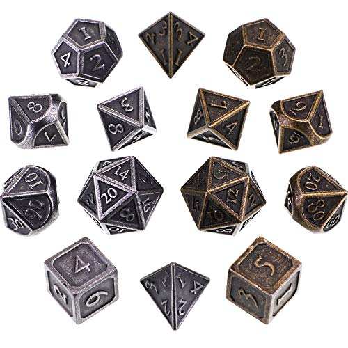 Jovitec 14 Pieces Metal Solid Zinc Alloy Game D&D Dices Set Durable Polyhedral Dice with Printed Numbers and Velvet Storage Bags for Game, Dungeons and Dragons, RPG, Math Teaching (E) ()