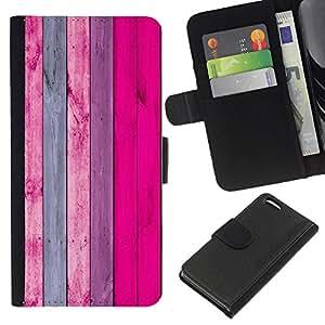 KingStore / Leather Etui en cuir / Apple Iphone 5C / Madera Dise?o decoración de la pared Rosa Púrpura