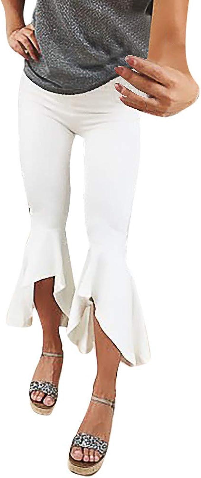 Sunnsean Pantalones De Moda Casual Para Mujer Pantalones De Chandal Elegantes De Color Solido Pantalones Formales Ropa De Trabajo Pantalones De Mujer Pantalones Acampanados Amazon Es Ropa Y Accesorios